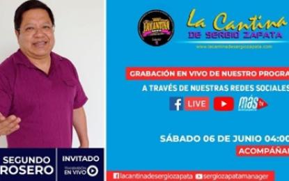 Segundo Rosero Con Sus Éxitos Este Fin De Semana Estará En Nuestro Programa La Cantina De Sergio Zapata